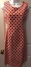 New JONES NEW YORK Dress Red White Shift Sheath Exposed Zip Career Geo Sz 4 NWOT