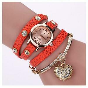 Heart On The Sleeve Bracelet Watch With Heart Charm In 10 Colors Japanese Quartz