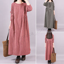 ZANZEA Womens Plus Round Neck Check Plaid Casual Baggy Long Shirt Dress Kaftan