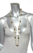 CHANEL Vintage 1985 Gold Purple Green Ruby Gripoix Faux Pearl Station Necklace