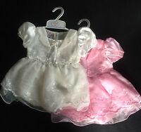 Baby Dress Bloomers 2pc Set Satin Girl Pink Ivory Cutey Pie 3-6 6-9 9-12 Months