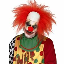 Adult Mens Scary Killer Clown Bald Cap Red Hair Circus Halloween Wig Accessory