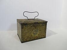 Tobacco Tin Lunch Box Patterson Seal Plug Cut Wire Handle Basket Design Vintage