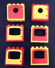 Lego Duplo Lot Of (6) Vintage Type Red And Yellow Windows Window EUC! L5