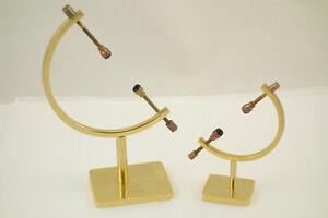 Pair Brass Caliper Display Stand for Meteorites Eggs Orbs Spheres Minerals Easel