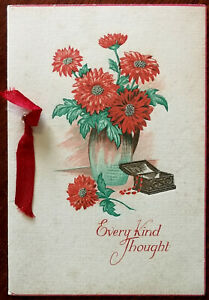 Every Kind Thought Vintage Floral Birthday Card with Ribbon