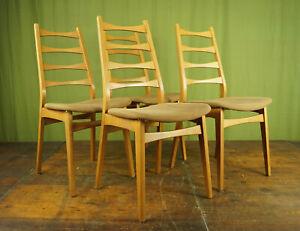 4x Vintage Chairs Danish Sprossenstuhl Retro Dining Room Chair mid-Century 60er