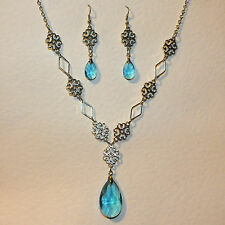 LACY FILIGREE VICTORIAN STYLE TURQUOISE GLASS SILVER PL NECKLACE EARRINGS SET