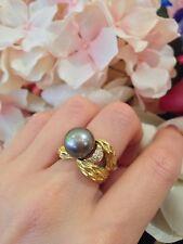 winc Negro SUR mar perla y Diamante Anillo en 18ct Oro Amarillo - hm1349