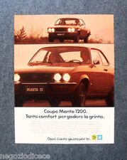 [GCG]  N870 - Advertising Pubblicità - 1975 - OPEL COUPE' MANTA 1200