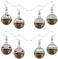 Earrings Old Books Dangle Charm Word Sayings Jewelry Handmade Gift USA