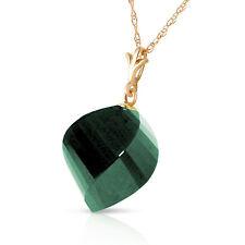 15.25 CTW 14K Solid Gold Necklace Twisted Briolette Emerald