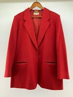 Vintage LL Bean Womens Wool  Blazer 12 R Red Freeport Maine USA 80s Suit Jacket