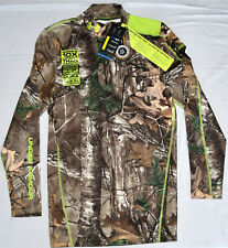 New Men Under Armour Coldgear Scent Control LS Mock Shirt Realtree Camo 1228129