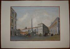 Stampa antica old print Benoist Roma Monte Cavallo Quirinale gravure 1870