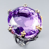 Extra Big 60ct+ AAA Natural Amethyst 925 Sterling Silver Ring Size 8/R119607