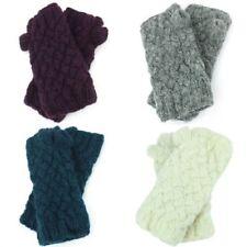 Wool Gloves Arm Warmers Fleece Lined PLAIN Knit Nepal Handmade LoudElephant