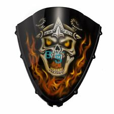 Airbrushed Flame Skull Windscreen Windshield Fit Suzuki Fairing motorcycle BSE