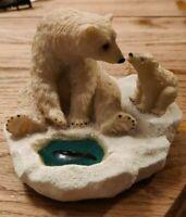 Polar Bear Momma & Cub Sculpture Figurine At Ice Fishing Hole