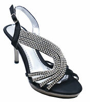 WOMENS BLACK DIAMANTE STRAPPY WEDDING EVENING HIGH HEEL SANDALS SHOES SIZE 3-8