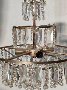 Lampada Lampadario a sospensione in gocce di vetro cristallo epoca antico luce