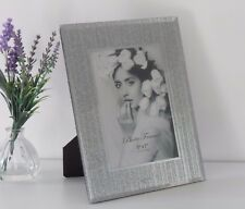 Silver Glitter Sparkle Mirrored Glass Photo Picture Frame Free Standing 5x7""