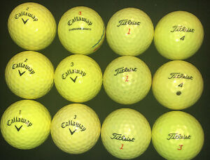 One Dozen (12) used CALLAWAY & TITLEIST Golf Balls - High Visibility Yellow