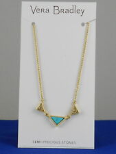 Vera Bradley Goldtone TRIANGLE Semi-Precious Turquoise Short Necklace $44