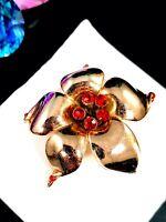 VINTAGE SIGNED ROSE GOLD VERMEIL STERLING SILVER RED RHINESTONE FLOWER BROOCH