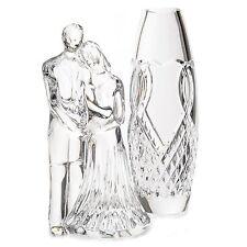 "(NIB) Waterford Crystal 2-Pc 7"" Wedding Couple & 8"" Heart Motif Bud Vase Set"
