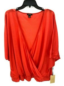 Halogen Women's Red Dolman Sleeve Wrap Top Size Large NWT