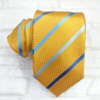 Luxury necktie men striped Gold & Blue 100% silk Made in Italy Morgana