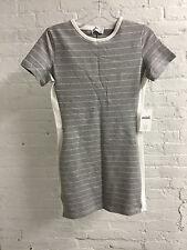 MINT - Grey White Striped Side Rib T-Shirt Mini Dress Anthropologie ASOS XS NWT