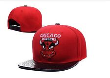 Chicago Bulls SnapBack Red Bowsers Black Faux Leather Video Game Logo Mashup Hat