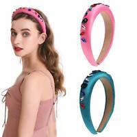 Women Crystal Headband Crown Fabric Hairband Jewelry Hair Band Hoop Accessories