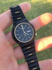 RARE Seiko Sports Black Gold Mens Classic Watch Box Book Included 5H23