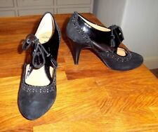 "Clark's Ladies Softwear Black Suede and Patent Leather 3"" Stiletto Shoes UK 4.5"