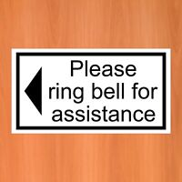 Please ring bell for assistance with left arrow sticker 9407 self adhesive vinyl