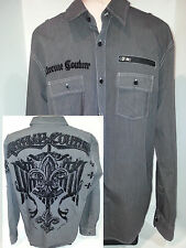Extreme Couture Mens Long Sleeve Button Front Shirt Size XL Black & Gray Cotton