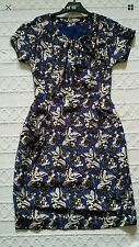 DESIGNER HOBBS NW3 LONDON PRETTY BLUE BUTTERFLY SHIFT TEA DRESS UK  8 VGC