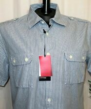 Alfani RED Fitted Shirt Gray Blue Stripe Short Sleeve Button Front L Large NWT