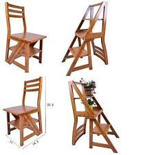 Folding Fold Up Library Step Ladder Chair Office Kitchen Home Garage Garden Use