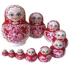 Traditional Matryoshka Nesting Dolls Russian Hand Painted Red Wooden 10pcs