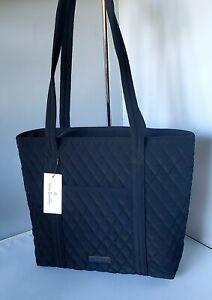 New Vera Bradley small VERA TOTE CLASSIC BLACK Shoulder Bag w/ top zip Closure