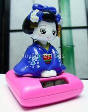 Solar Powered Power Japanese Kimono Car Bobble Head Geisha Girl Lady Doll Toy #B