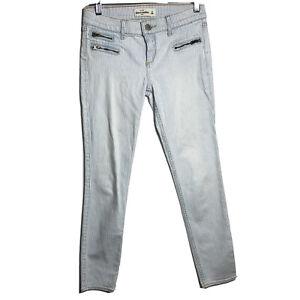 Abercrombie Kids Blue White Pinstriped Skinny Slim Jeans Girls Size Zipper