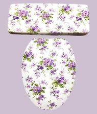 Lavender Purple Hyacinth Floral Bathroom Decor Toilet Seat & Tank Lid Cover Set