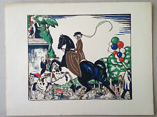 ROBERT BONFILS gravure sur bois original woodcut cavalier equitation cheval