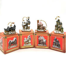 David Winter Cottages Lot Of 4 Christmas Ornaments Fairytale Tudor Suffolk Freds