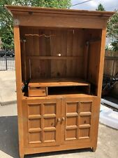 TV Cabinet Armoire Entertainment and Storage Unit Solid Wood Transitional Style